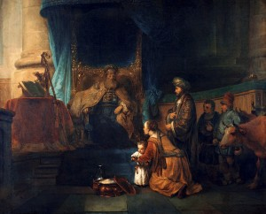 Gerbrand van den Eeckhout - Anna presentazione di suo figlio Samuele al Tempio, ca. 1665